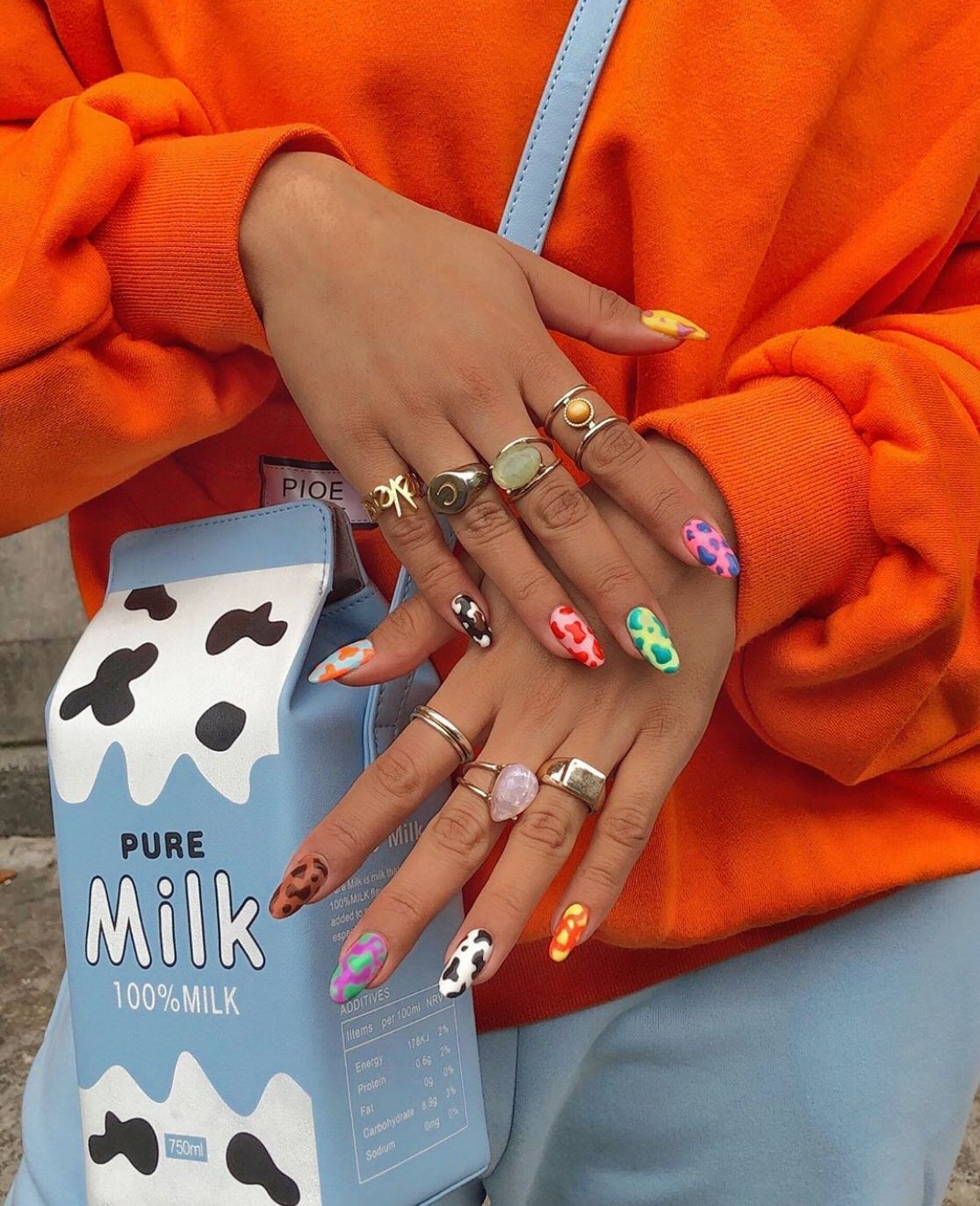 90s Aesthetic Nails In 2020 Cow Nails Aycrlic Nails Swag Nails