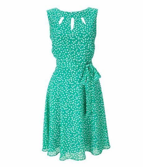 Green Spot Print Keyhole Dress