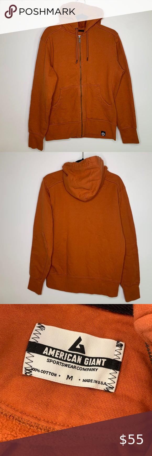 American Giant Mens Zip Up Zip Ups Sweatshirt Shirt Burnt Orange Color [ 1740 x 580 Pixel ]