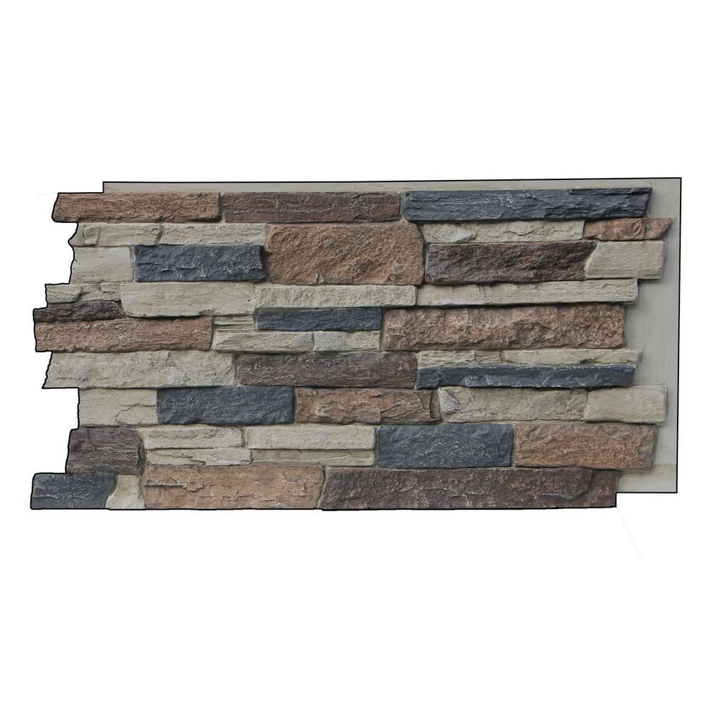 Superior Building Supplies Faux Mountain Ledge Stone 24 3 4 In X 48 3 4 In X 1 1 4 In Panel Rustic L Stone Veneer Panels Faux Stone Panels Faux Stone Siding