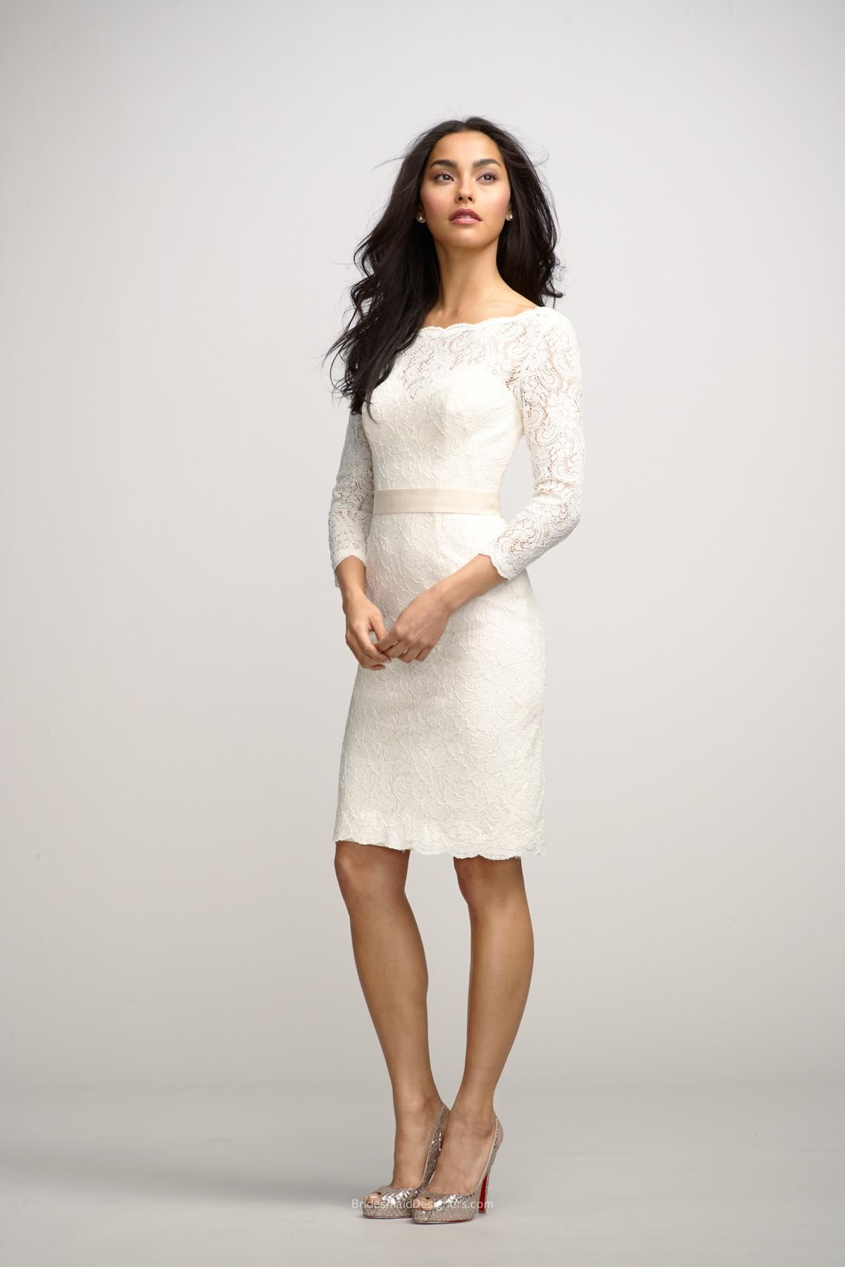 Short lace wedding dress with sleeves  ivory boat neck lace bridesmaid dress with threequarter long sleeve