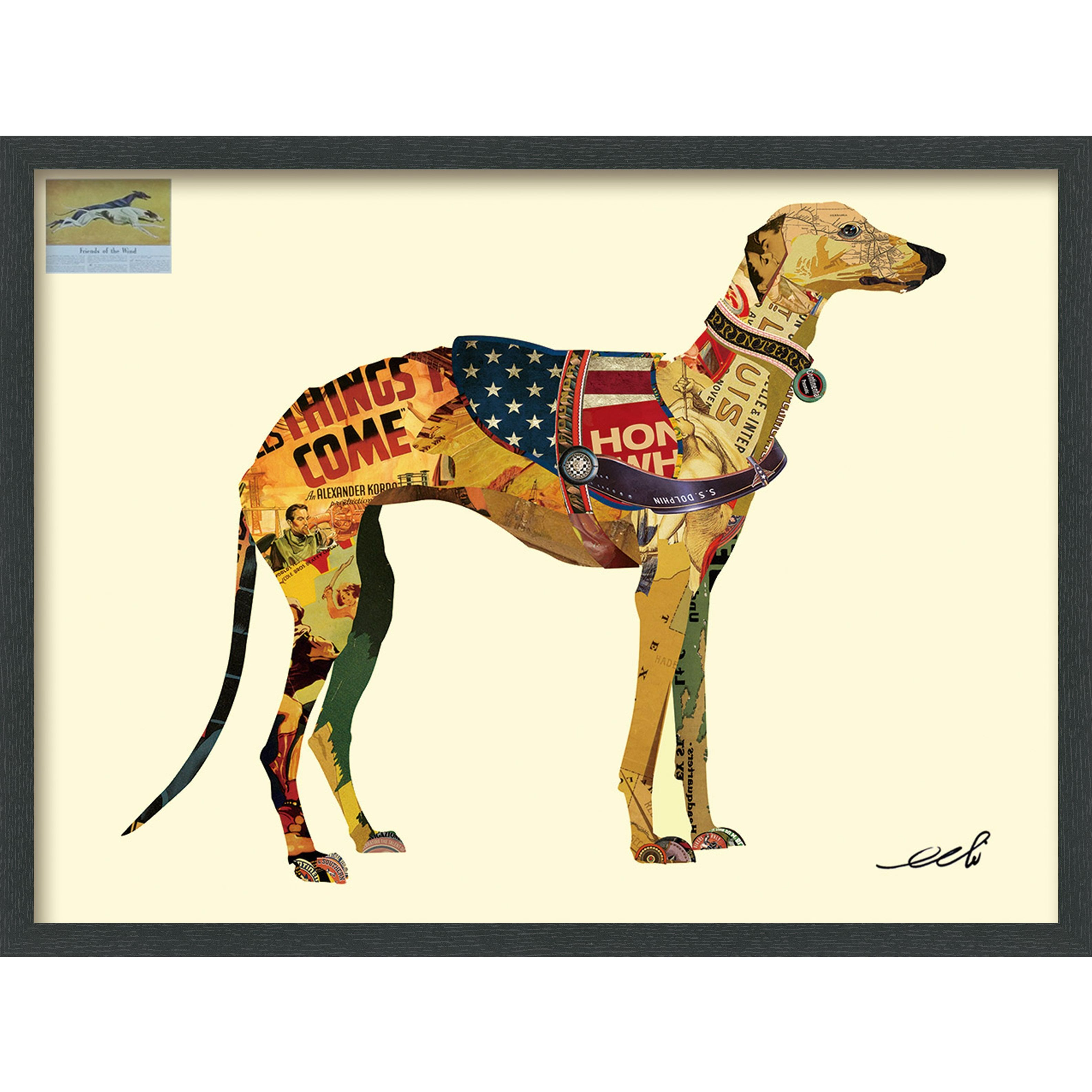 Empire art greyhound hand made signed art collage by ead