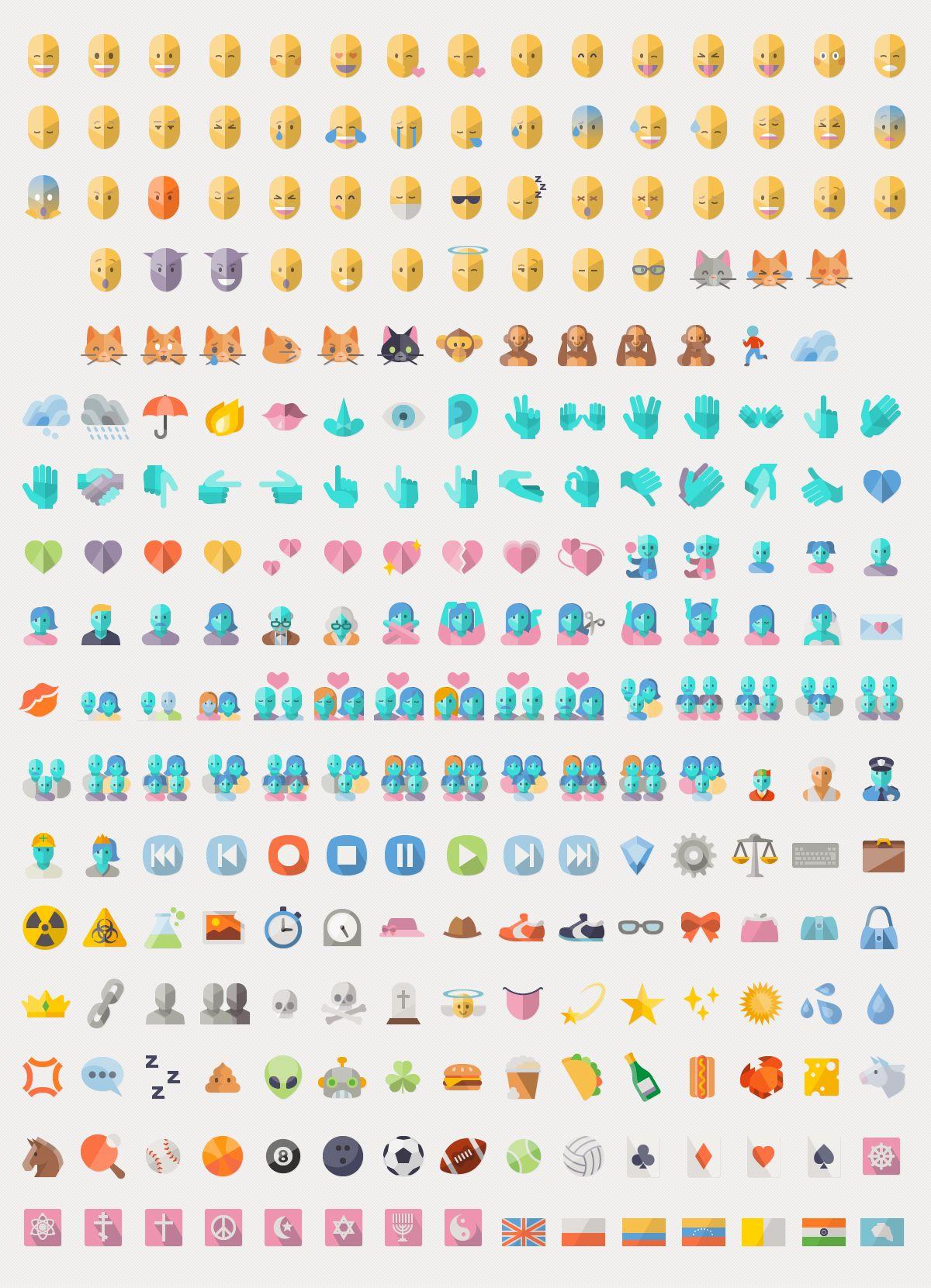 Flat Emoji List Vector Pack Emoji list, Emoji, Instant