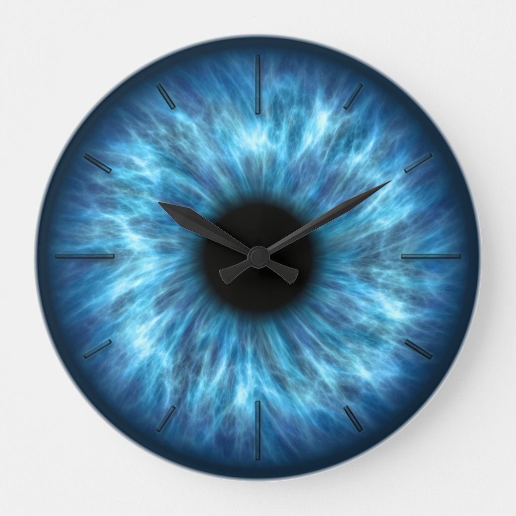 Eye 1 Wall Clock Numeral Options Zazzle Com In 2020 Wall Clock Clock Resin Art Painting
