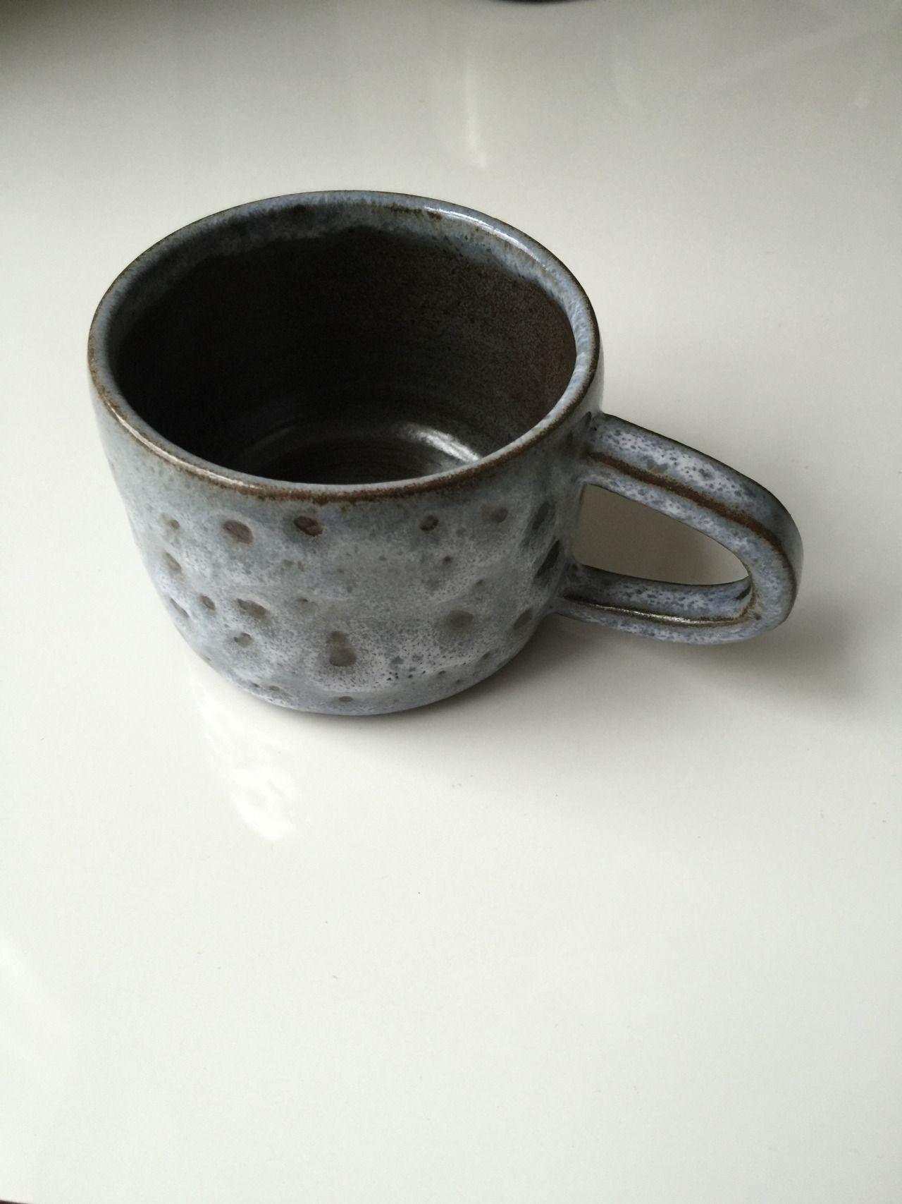 Black Stoneware coffee cup with Blue / Grey glaze, 2015