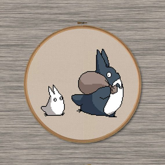 Small Totoros - PDF Cross Stitch Pattern - Inspired by Miyazaki\'s ...