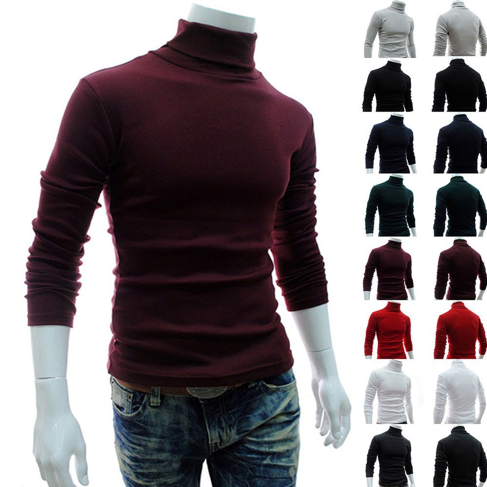 Long Sleeve Tops Turtleneck Sweater Casual Slim Fit Classic Stylish Jumper Men #New #Vest