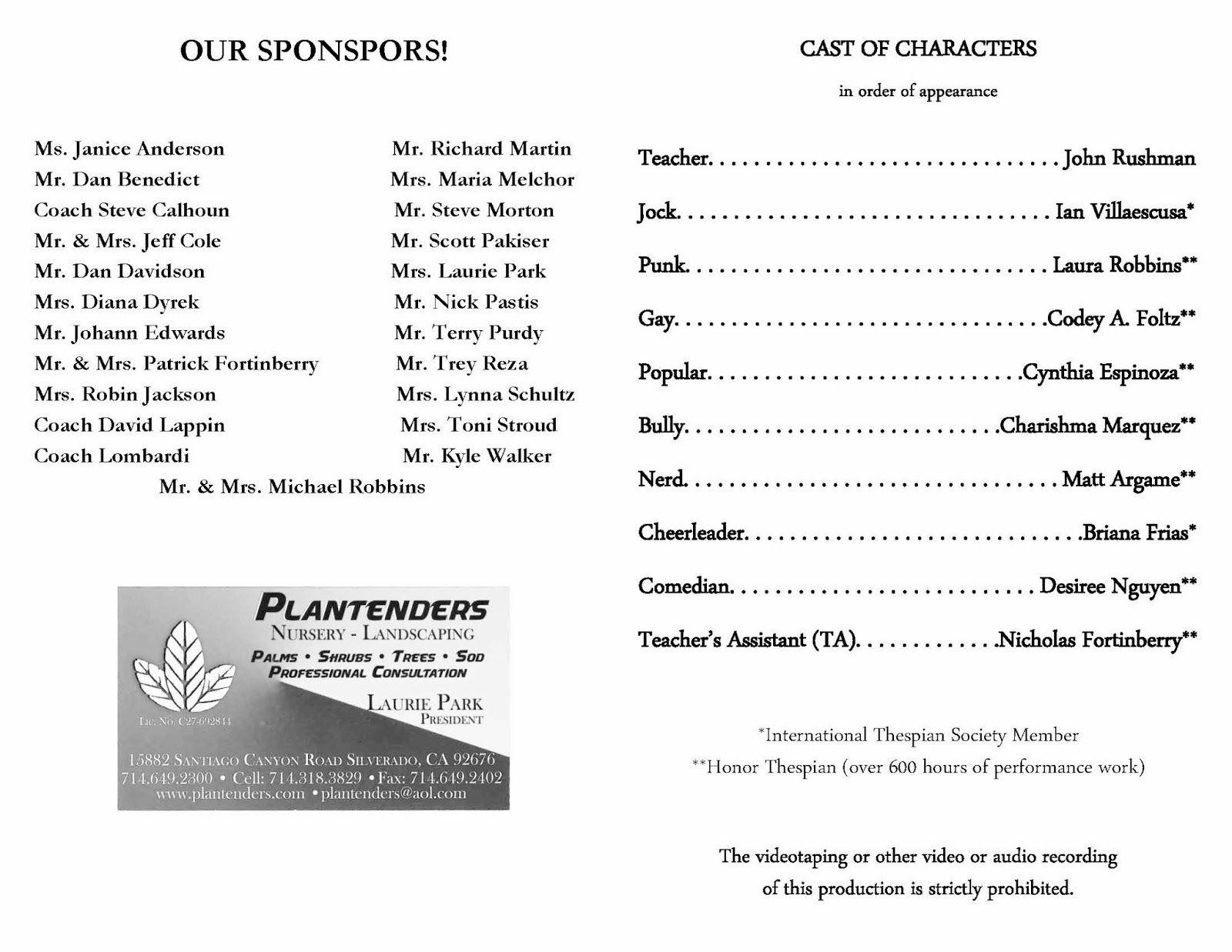 Theatre Programs Template
