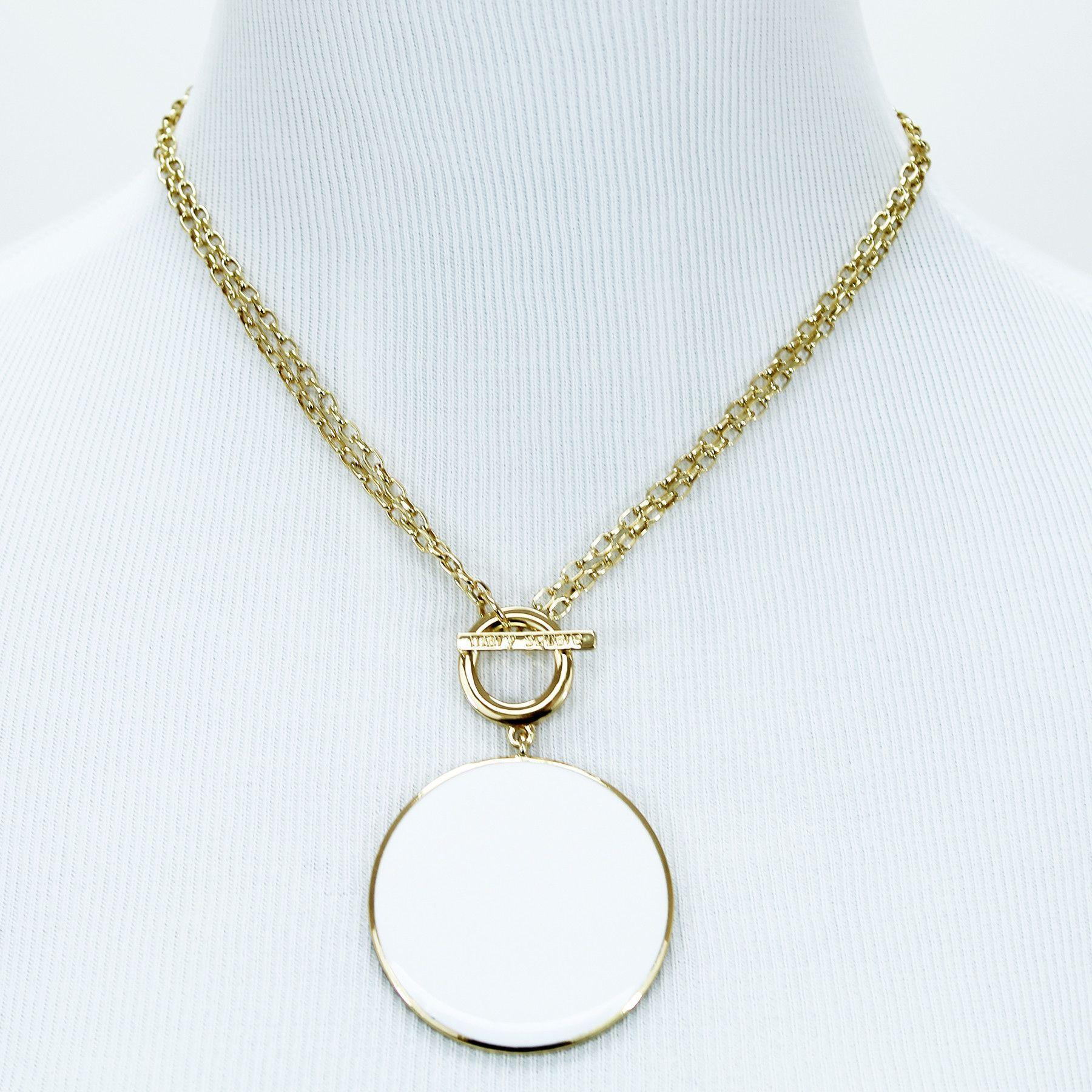 Enamel Toggle Necklace Classic White