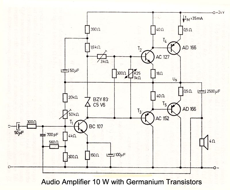 10 W Audio Amplifier with Germanium Transistors | Electronic ...