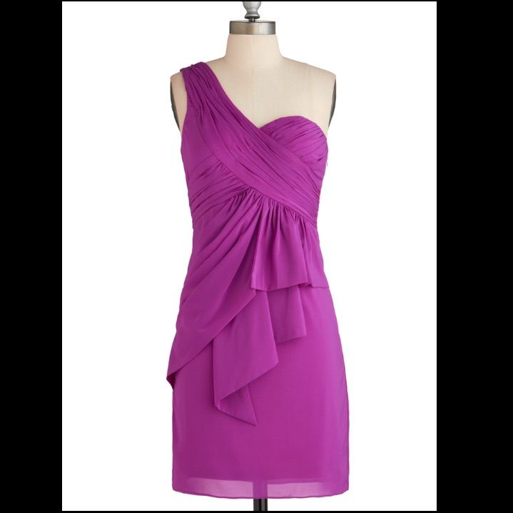 Point One-Shoulder Purple Dress In Size M!