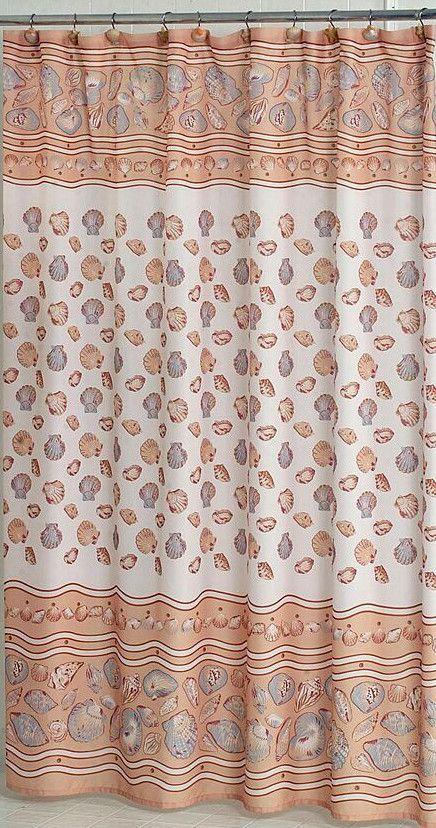 Sea Shells Galore Fabric Shower Curtain Beige Fabric Shower