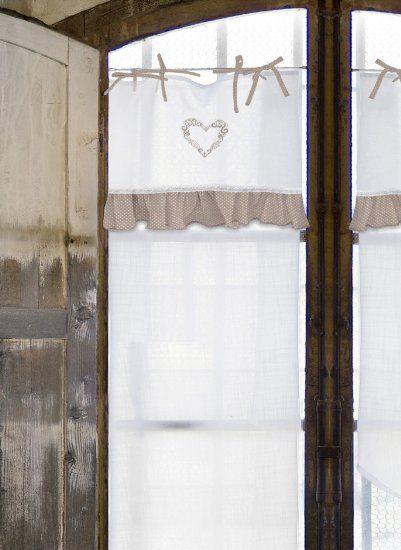 Vorhang Gardine Scheibengardine Landhaus Shabby Chic - Rüsche - gardinen wohnzimmer beige