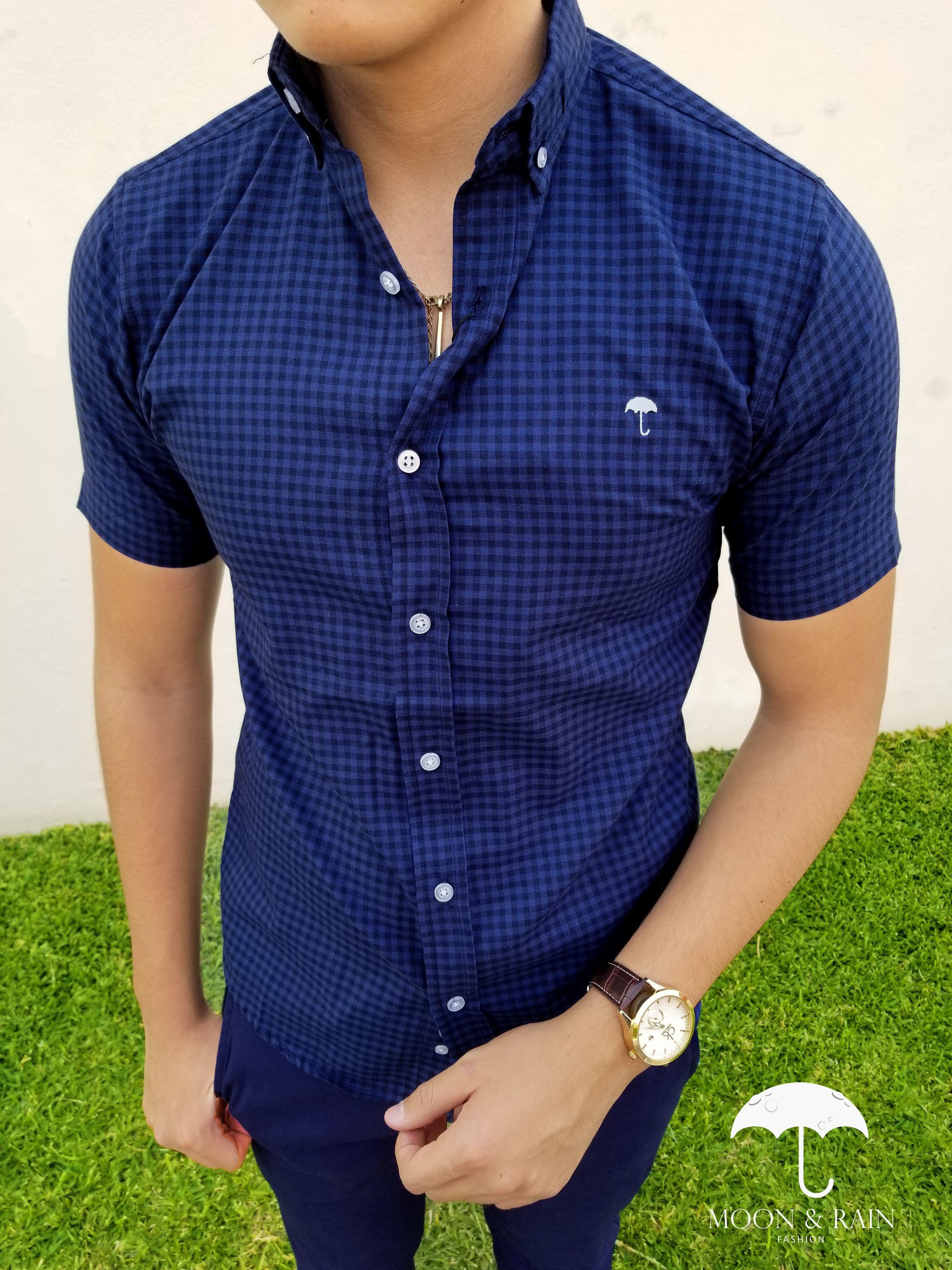 d059a98fb Ropa para hombre ideal para una ocasión casual y o formal  Camisa Manga  Corta Cuadros Marino- Negro y Pantalón de Vestir de la marca Moon   Rain