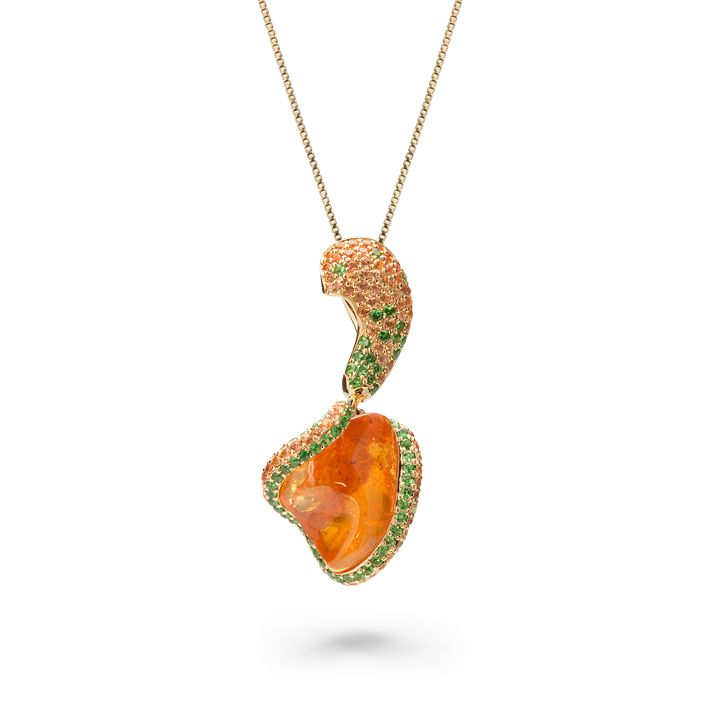 Honey heart pendant by votive orange garnet tsavorites orange honey heart pendant by votive orange garnet tsavorites orange sapphires 18k yellow aloadofball Gallery