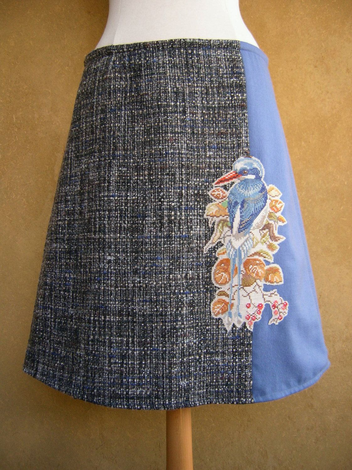Mot Mot Bird embroidery skirt, A-line skirt, tropical bird skirt, embroidery applique, fully lined, vintage wool, blue gray, size Medium door LUREaLURE op Etsy