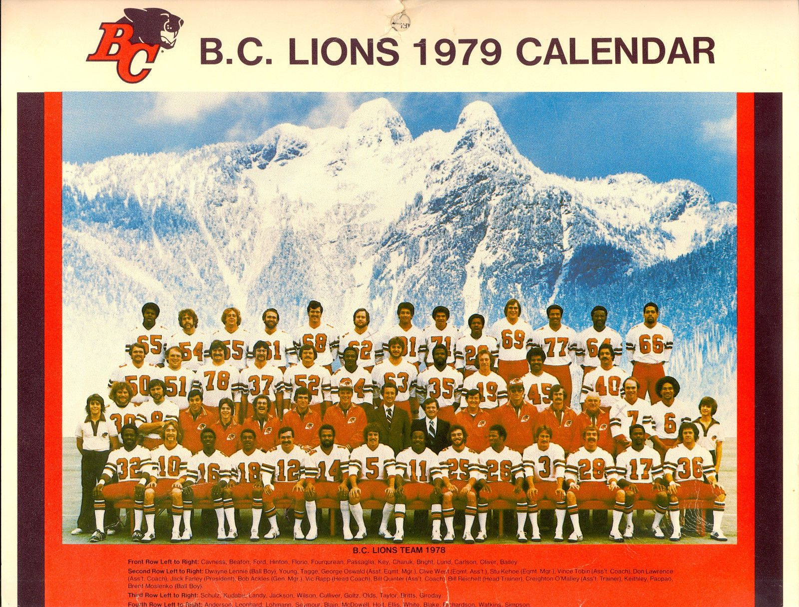 1979 B C Lions Cfl Team Calendar Football Photos Team Calendar