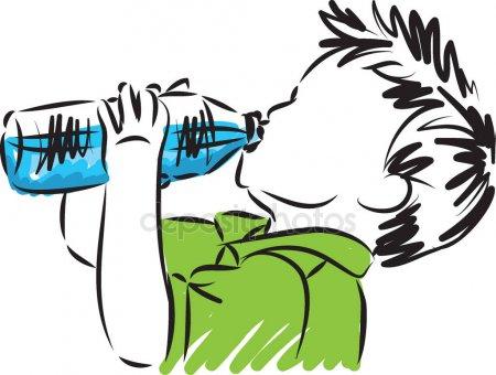 Vectores De Stock De Nino Bebiendo Agua Ilustraciones De Beber Agua Dibujos De Agua Agua