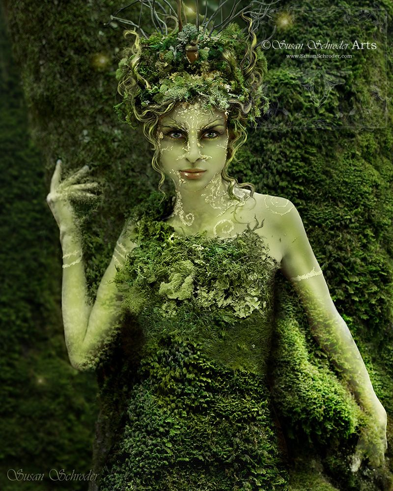 Hedgecreek Dryad © Susan Schroder This image was shot on location at Hedgecreek Falls in Dunsmuir, California.  It took me over 5 hours to do all hair, make-up and costuming that day. I airbrushed her in green tones and then hand applied real gold leaf to her skin along with other make-up effects. Prior to that day, I had also delicately, hand stitched all that moss onto a bodice.  Overall, it was an amazing day! (All original photography by Susan Schroder)