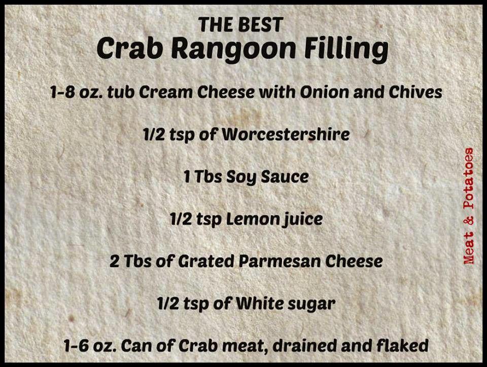 Meat & Potatoes, Recipes and More!: The BEST Crab Rangoon Filling #crabrangoondip