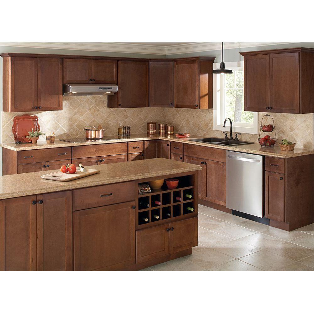 Best Hampton Bay 18X36X12 In Shaker Wall Cabinet In Cognac 400 x 300