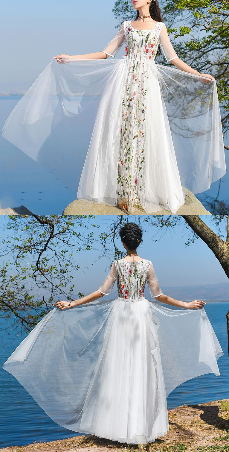 fa1a16d26f trendy-white-tulle-dress-half-sleeve-bridesmaid-dress-embroidery -design-prom-dress