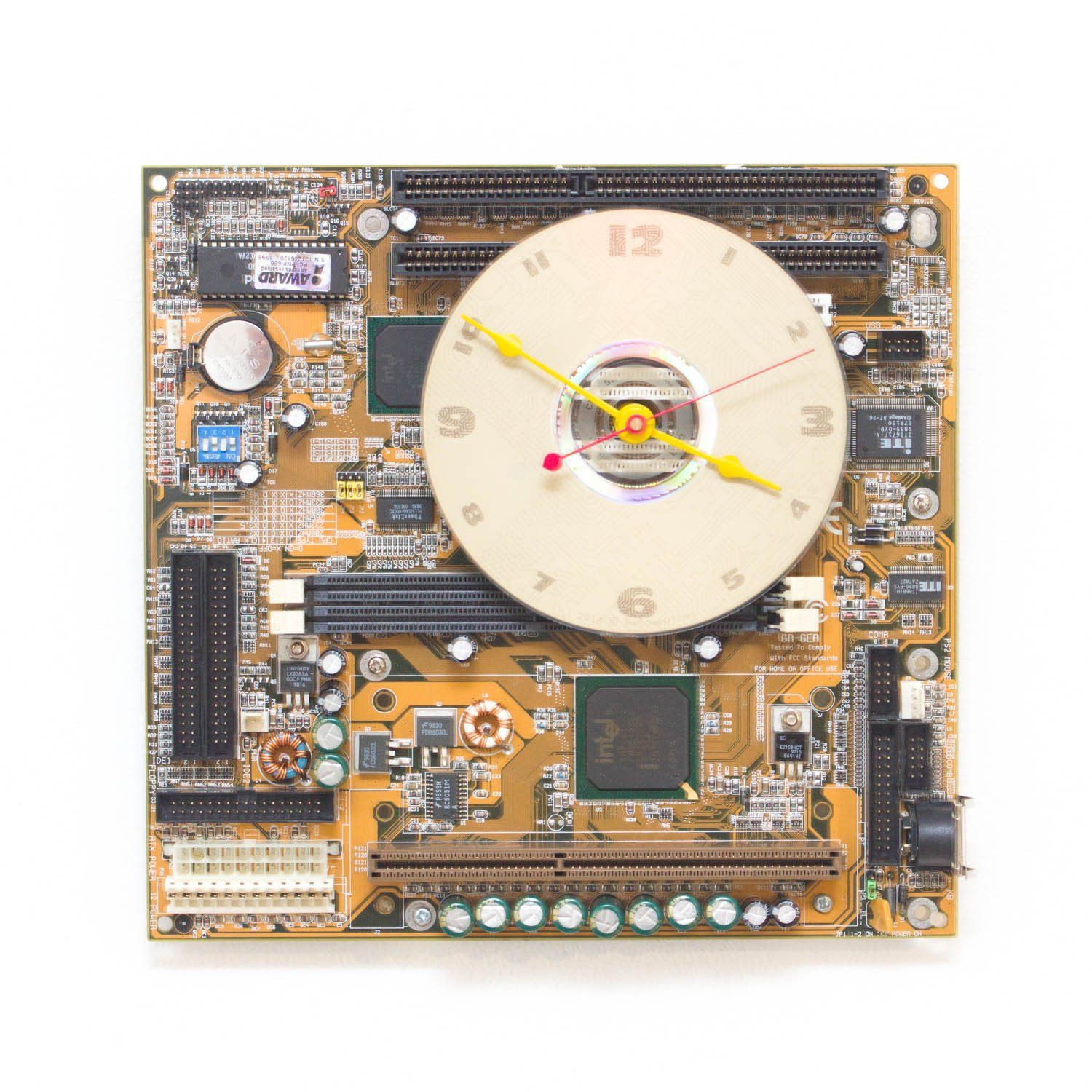 Techie Clock Made Of Yellow Olive Green Circuit Board Products Recycled Is From A