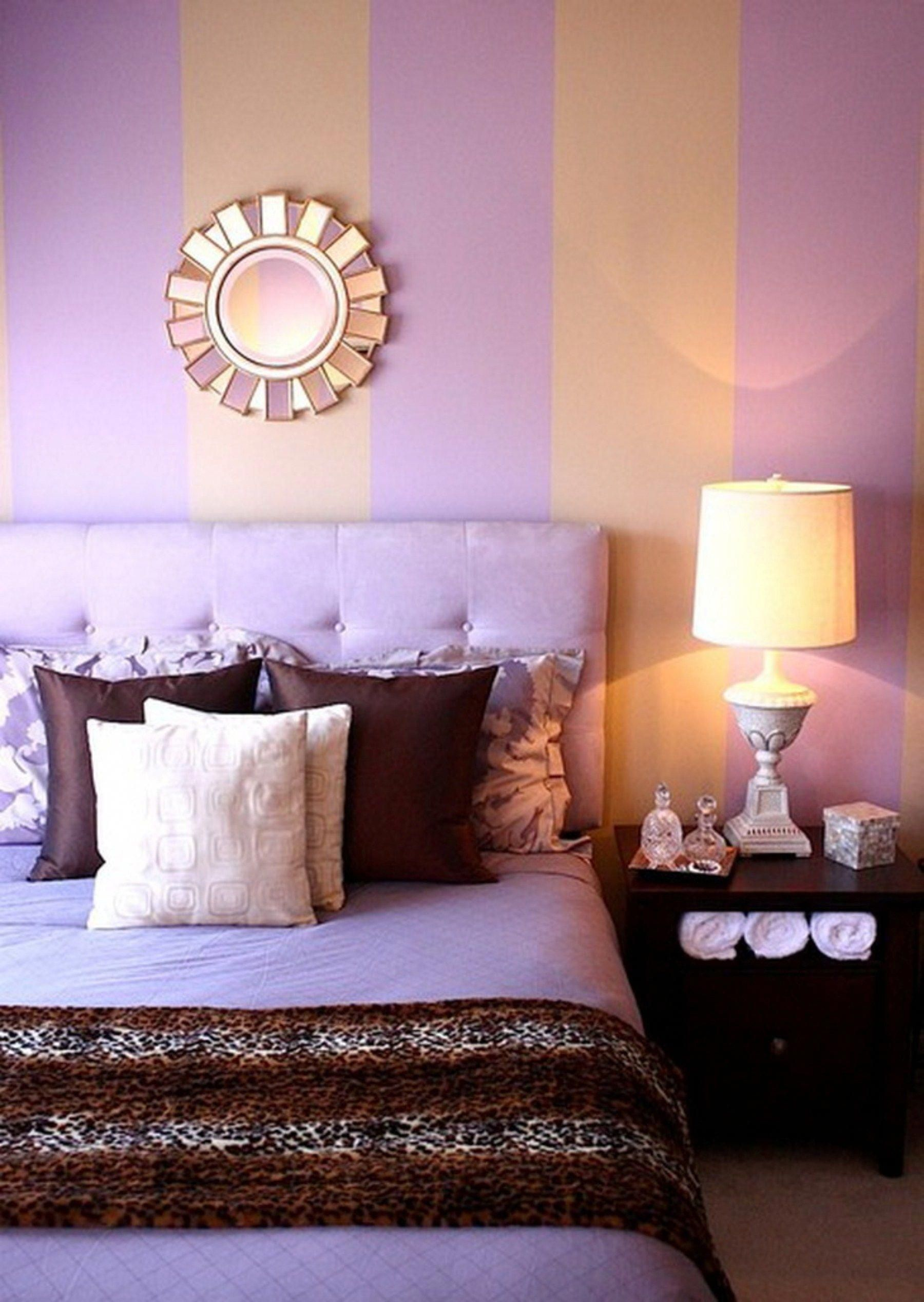 Purple Bedroom Design With Orange Wall Color Combination ...