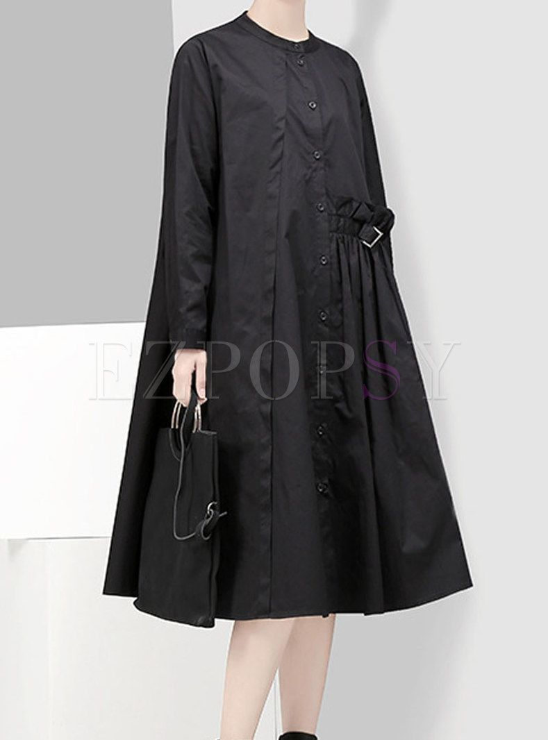 Dresses   Shift Dresses   Stand Collar Single-breasted Asymmetric Dress