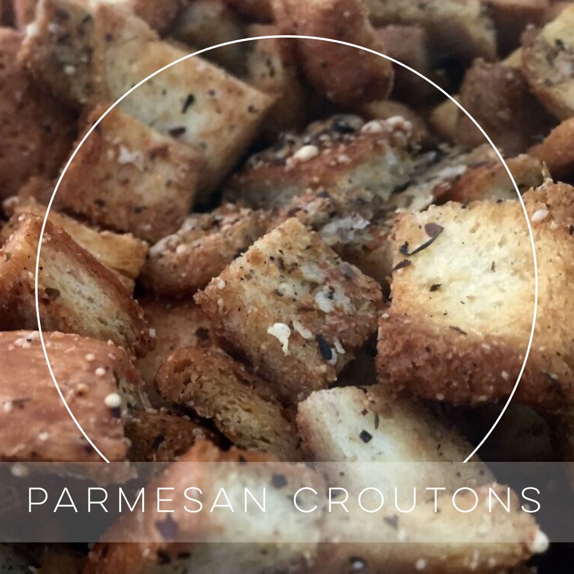 Parmesan croutons fresh from the oven.
