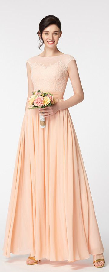 Lace Chiffon Peach Modest Bridesmaid Gown | Bridesmaid Dresses ...