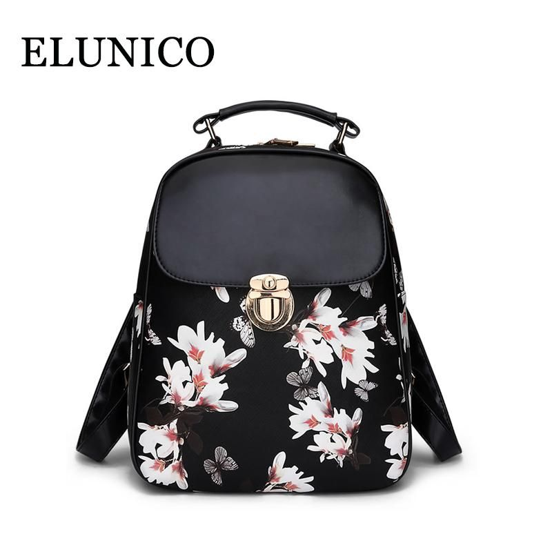 bbd4cc7a93cd ELUNICO 2018 New Summer Cute Girls Butterfly Flower Printing Backpack Women  Small Fashion Casual PU Leather Backpacks Sac A Dos.