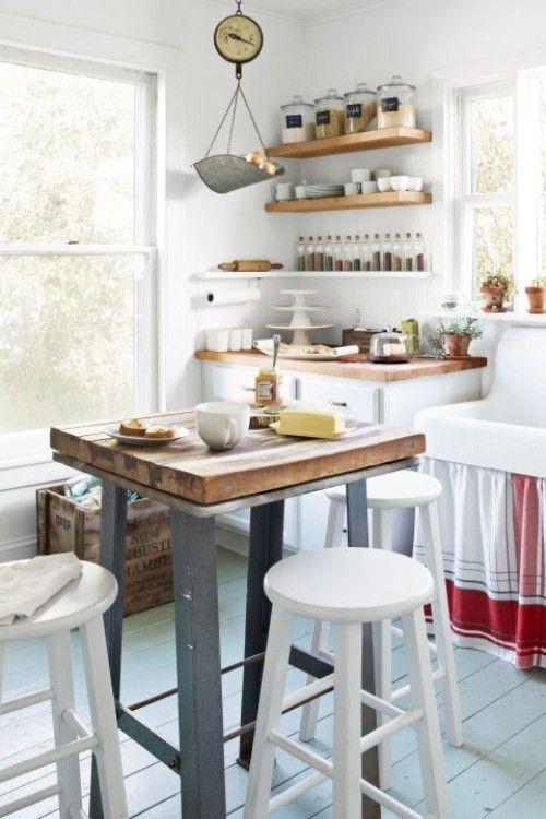 küche mit kochinsel klein funktional offene wandregale weiße ...