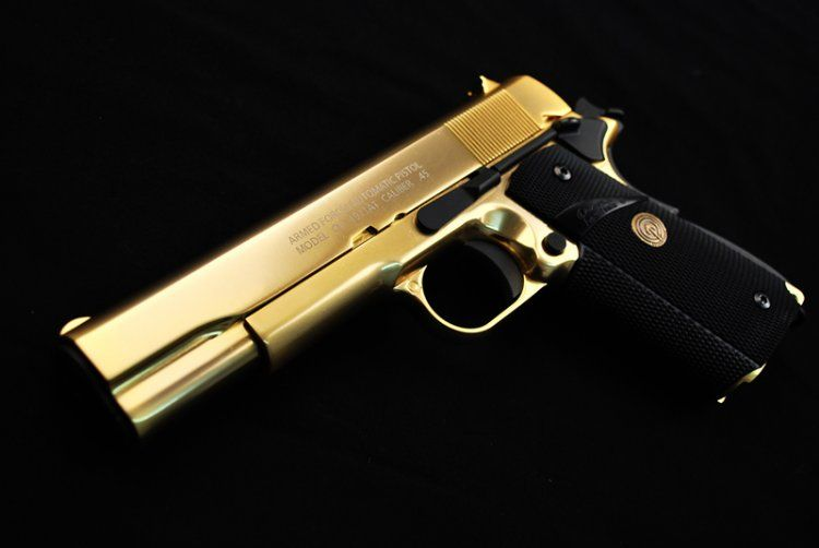 Man With A Golden Gun Badass Weaponry Guns Gold 1911 Pistol