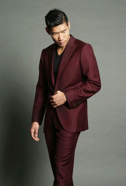 Maroon Suit with Black Undershirt from The Tailory @Thetailorynyc