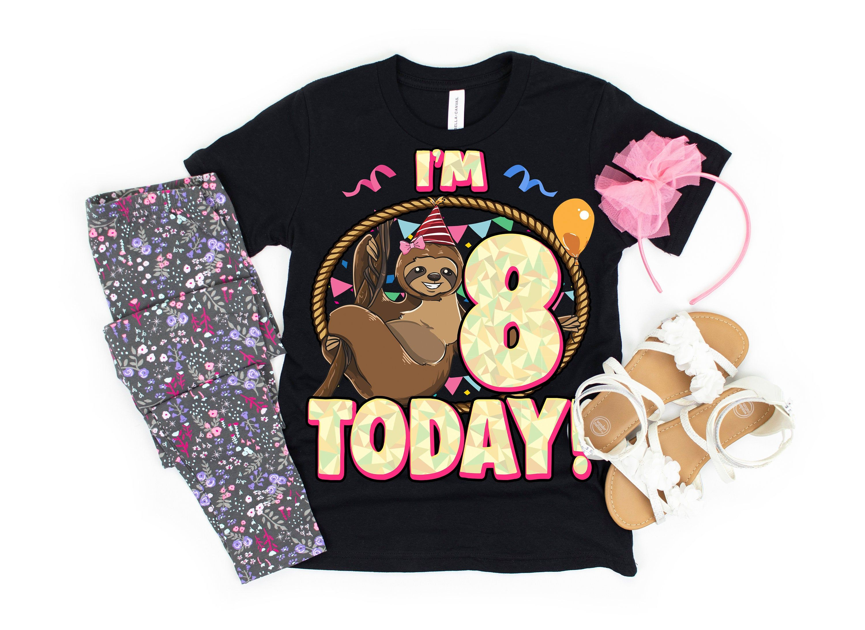 8th birthday shirt girlsloth birthday girlsloth shirts