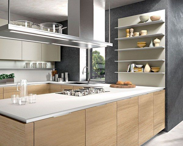 Modern Kitchen With Oak Finishes White Countertops Open Shelves Gray Wall Color