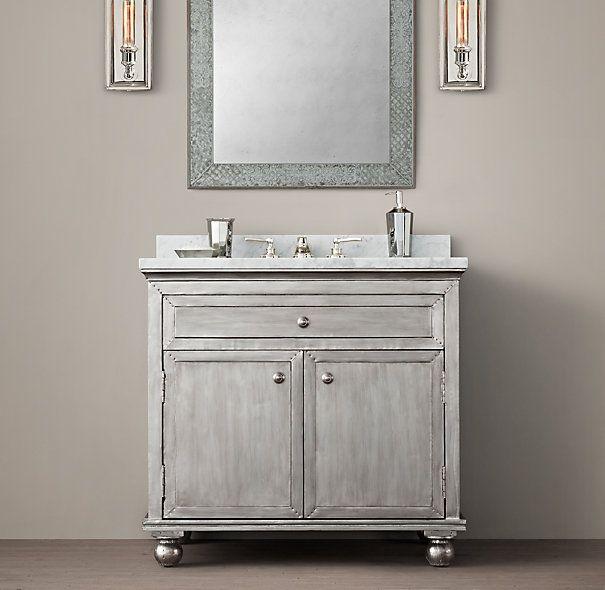 Zinc Bathroom Vanity restoration hardware zinc vanity with carrera white marble top