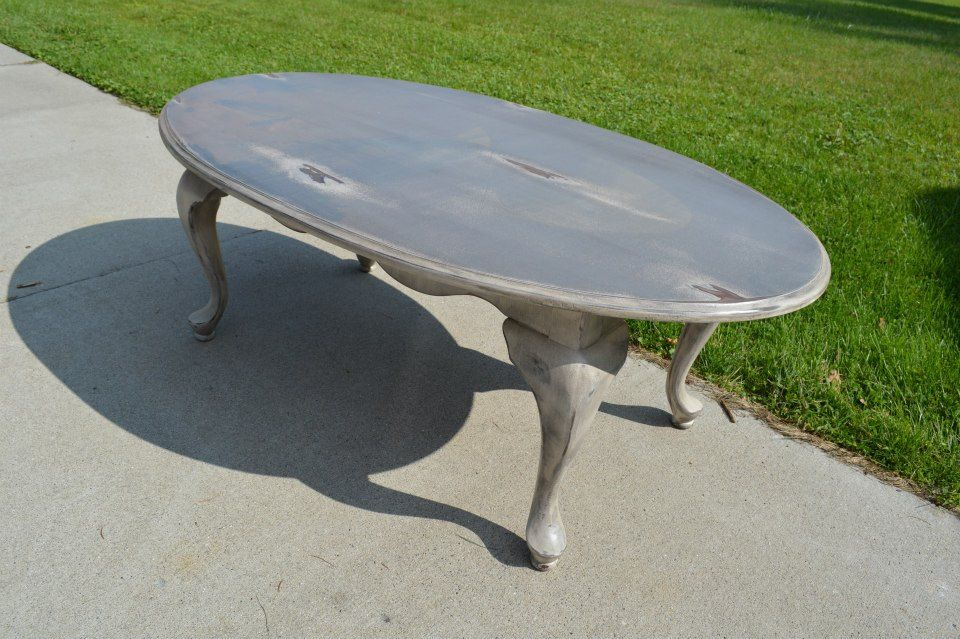 Painted Two Tone Queen Ann Oval Coffee Table Rustic Shabby Chic