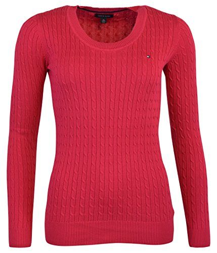 Tommy Hilfiger Womens Crew Neck Cable Knit Sweater L CRIMSON PINK ...
