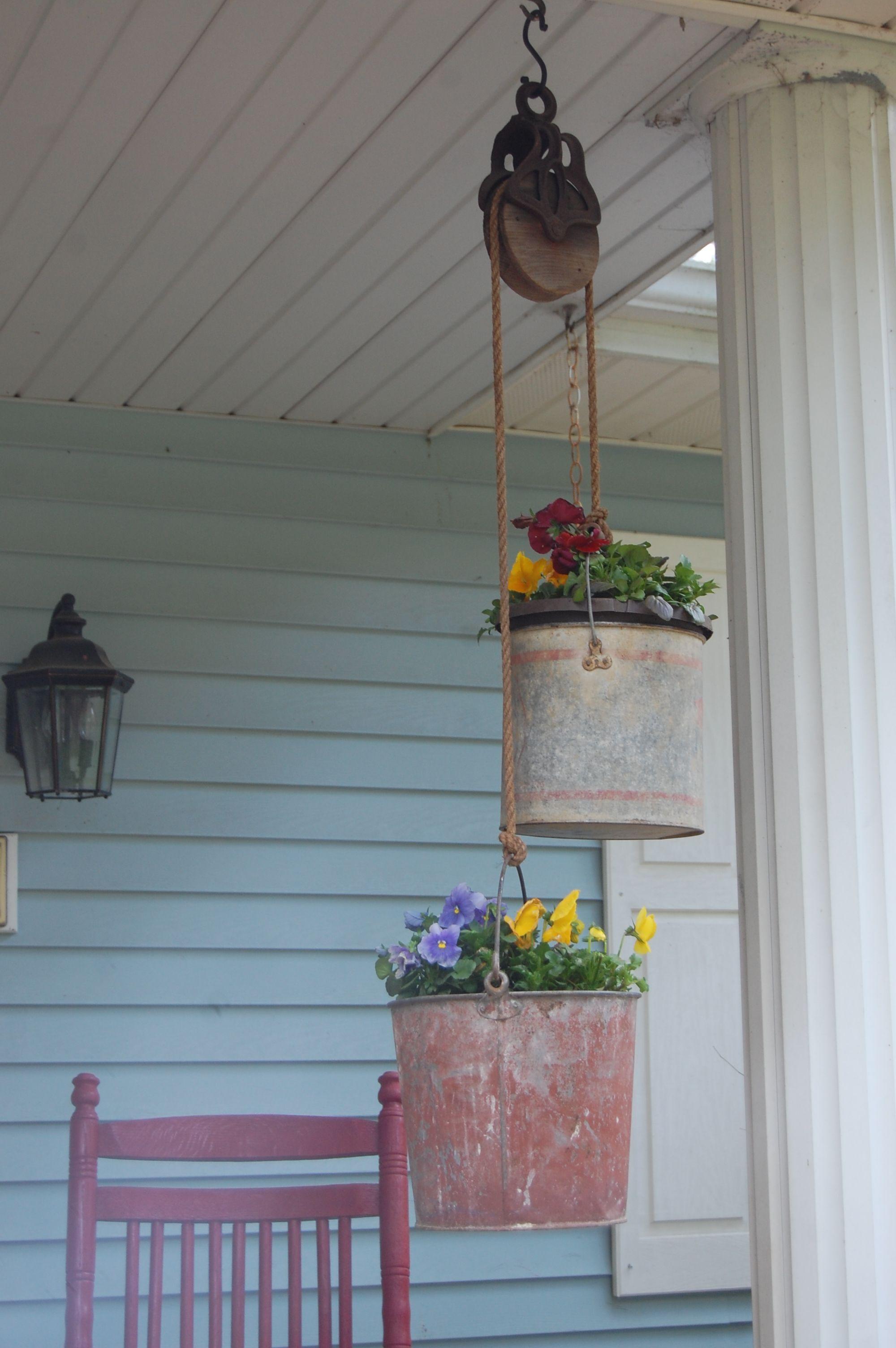 pulley buckets flowers backyard pinterest pulley