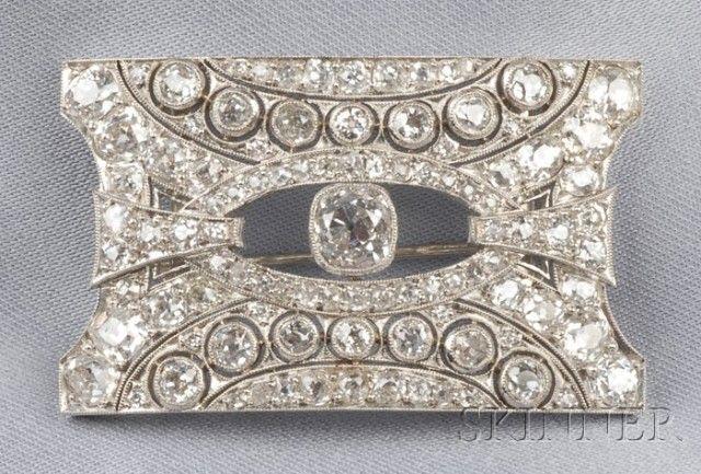 Art Deco Platinum and Diamond Plaque Brooch | Sale Number 2510, Lot Number 711 | Skinner Auctioneers