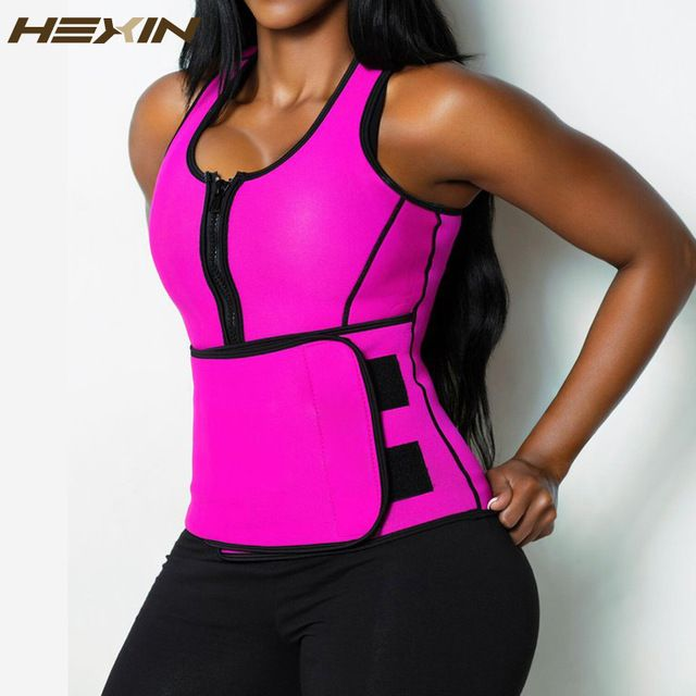 d8fd8b227de8d HEXIN Neoprene Sauna Waist Trainer Vest Summer Workout Shaperwear Slimming  Adjustable Sweat Belt Body Shaper 6X