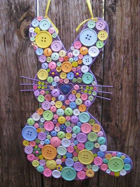 Button Easter Bunny Easter Decoration Spring Door