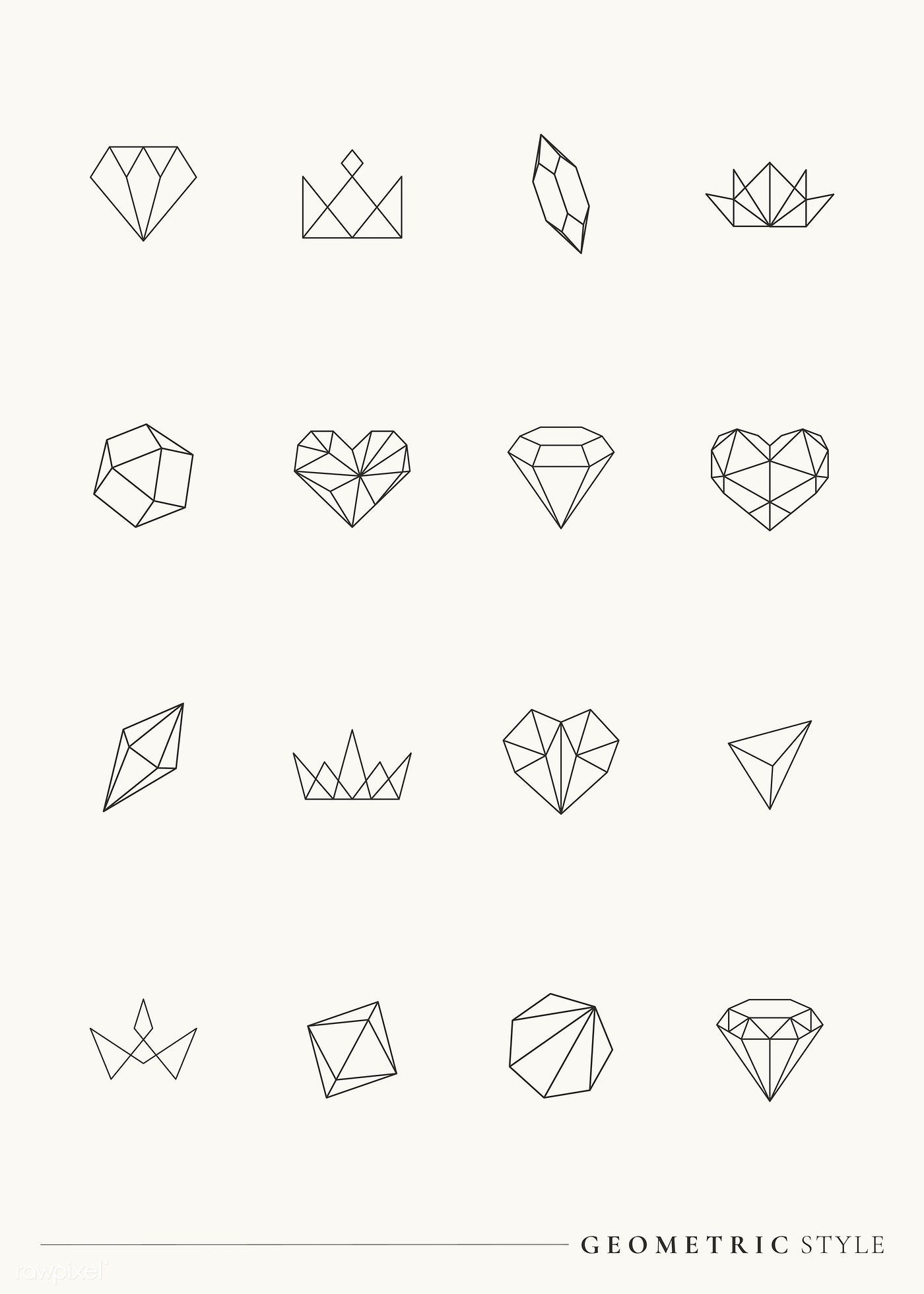 Photo of Download free vector of Linear geometric design element collection vectors