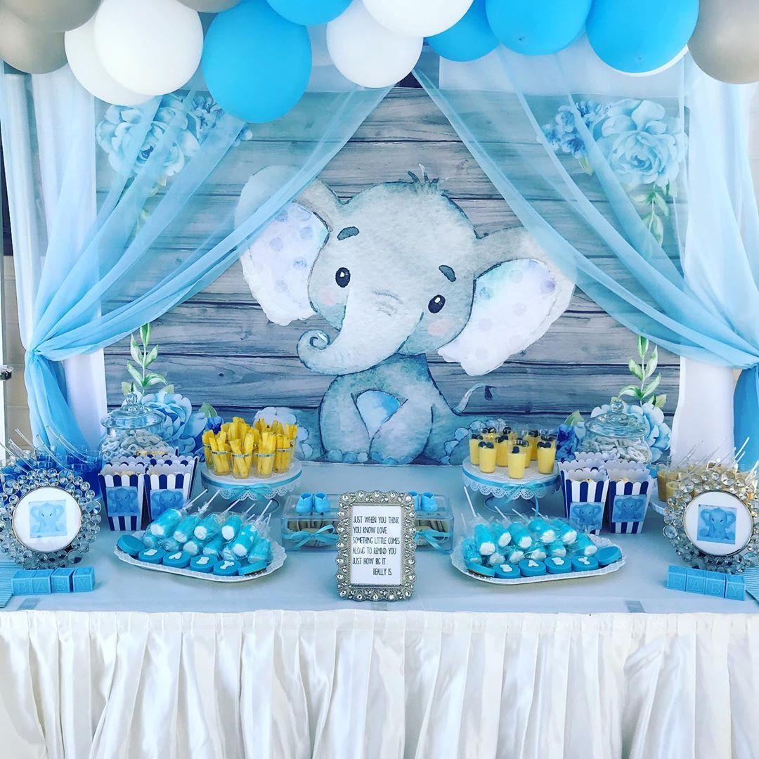 Baby Elephant Inspired For This Amazing Baby Shower Elephantbabyshower Elep Elephant Baby Shower Theme Boy Baby Shower Centerpieces Elephant Baby Shower Boy