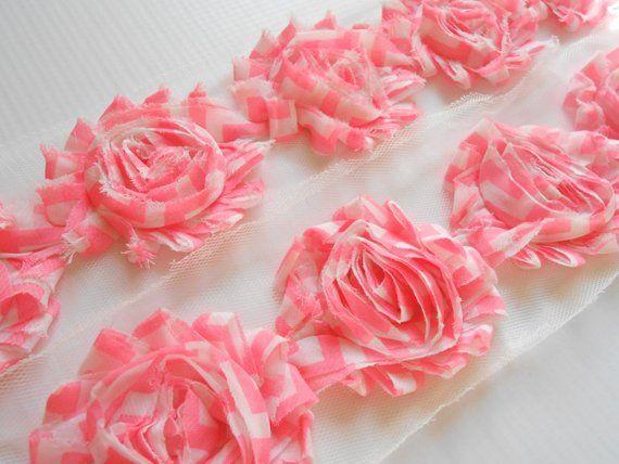 "1//2 yard fuchsia pink 2.5/"" shabby chiffon rose trim flowers DIY baby headband"