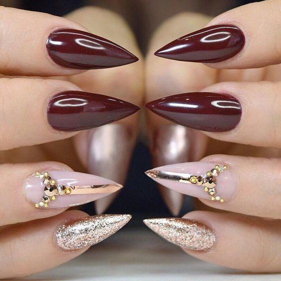 Fantastic Stiletto Burgundy Nails For Super Stylish Ladies Stiletto Nails Designs Burgundy Nails Stilleto Nails Designs