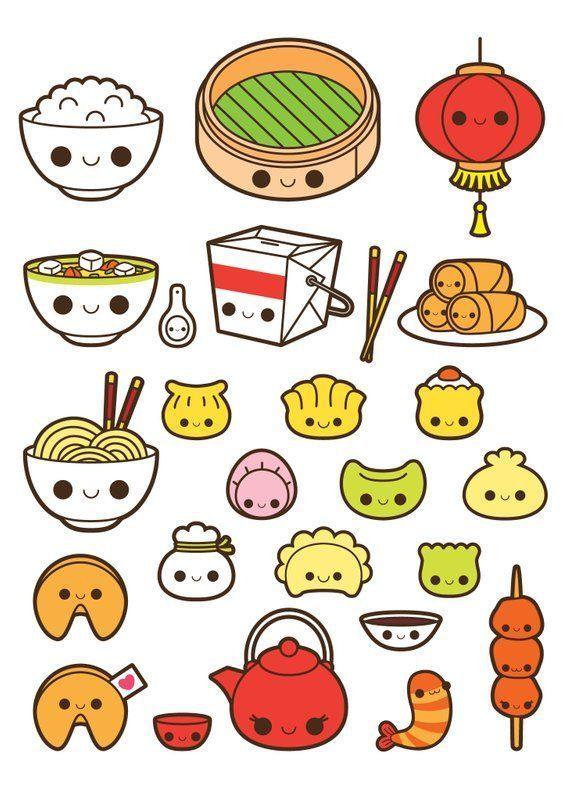 Kawaii chinese food clipart, kawaii food clipart, fortune cookie clipart, soup clipart, dim sum cli