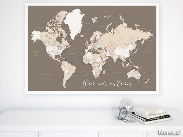 Custom quote color and size world map with cities capitals custom quote color and size world map with cities capitals countries us gumiabroncs Gallery